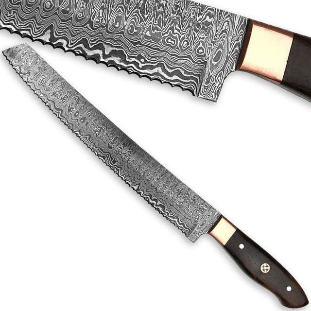 WHITE DEER Forged Serrated Bread Knife Chef Cutlery Damascus Steel Saw 1095HC Kitchen