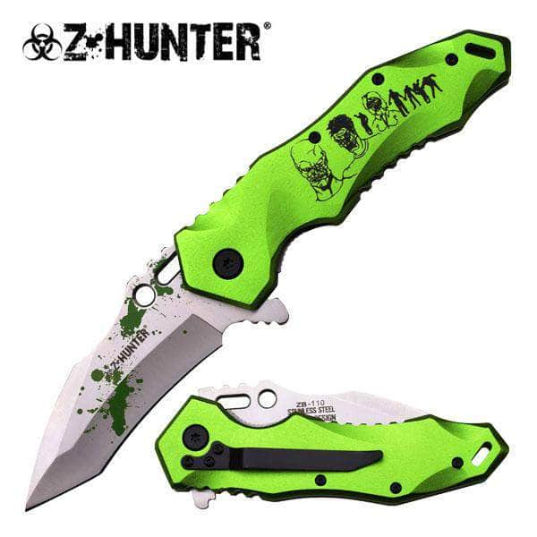 Z-Hunter Linerlock A/O Knife ZB-110GN 5in closed. 3.75in assisted opening