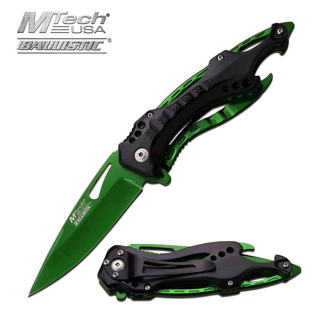 MTech Assisted 3.5 in Green Blade Green-Black Aluminum Hndl MT-A705GN