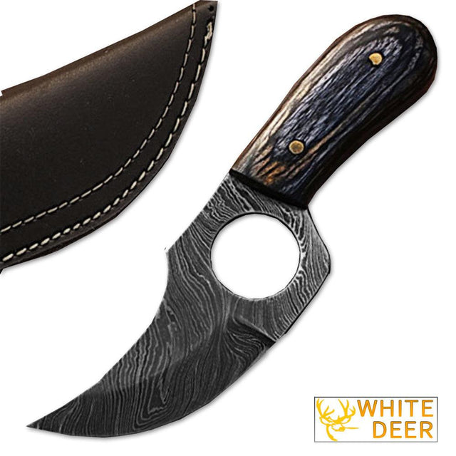 White Deer Handmade Damascus Steel Skinner Knife with Paka Wood Handle