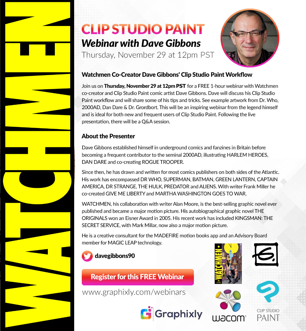 Webinar - WATCHMEN Co-Creator Dave Gibbons' CLIP STUDIO PAINT Workflow