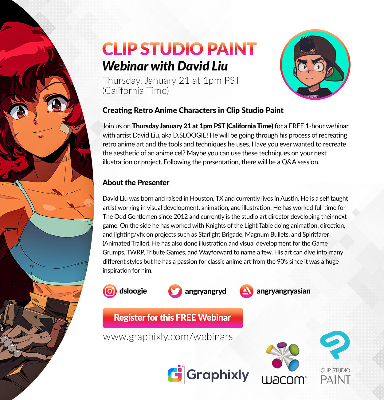 Webinar – Creating Retro Anime Characters in Clip Studio Paint with David Liu