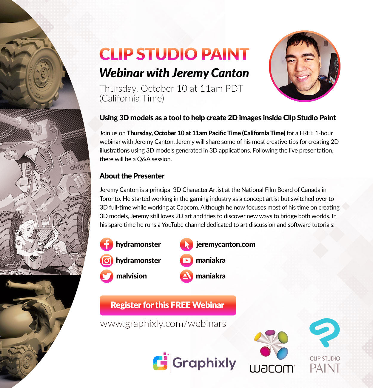 Webinar - Using 3D models as a tool to help create 2D images inside CLIP STUDIO PAINT