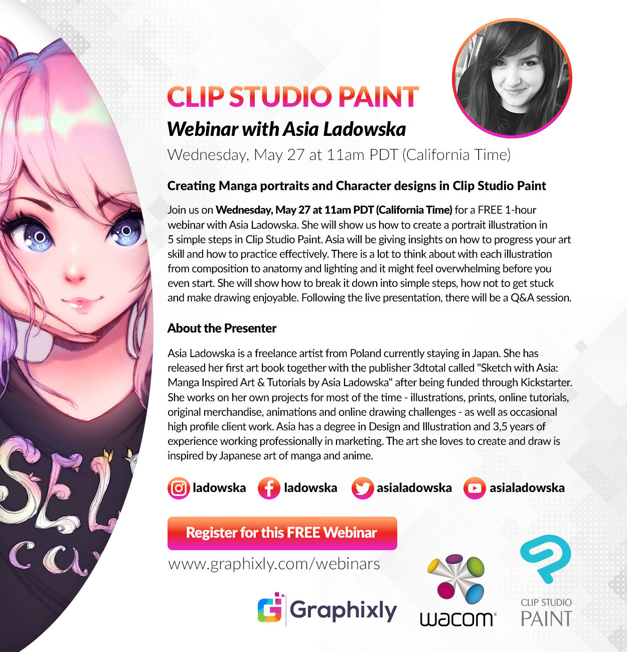 "Webinar - ""Creating Manga portraits and Character designs in Clip Studio Paint"" with Asia Ladowska"