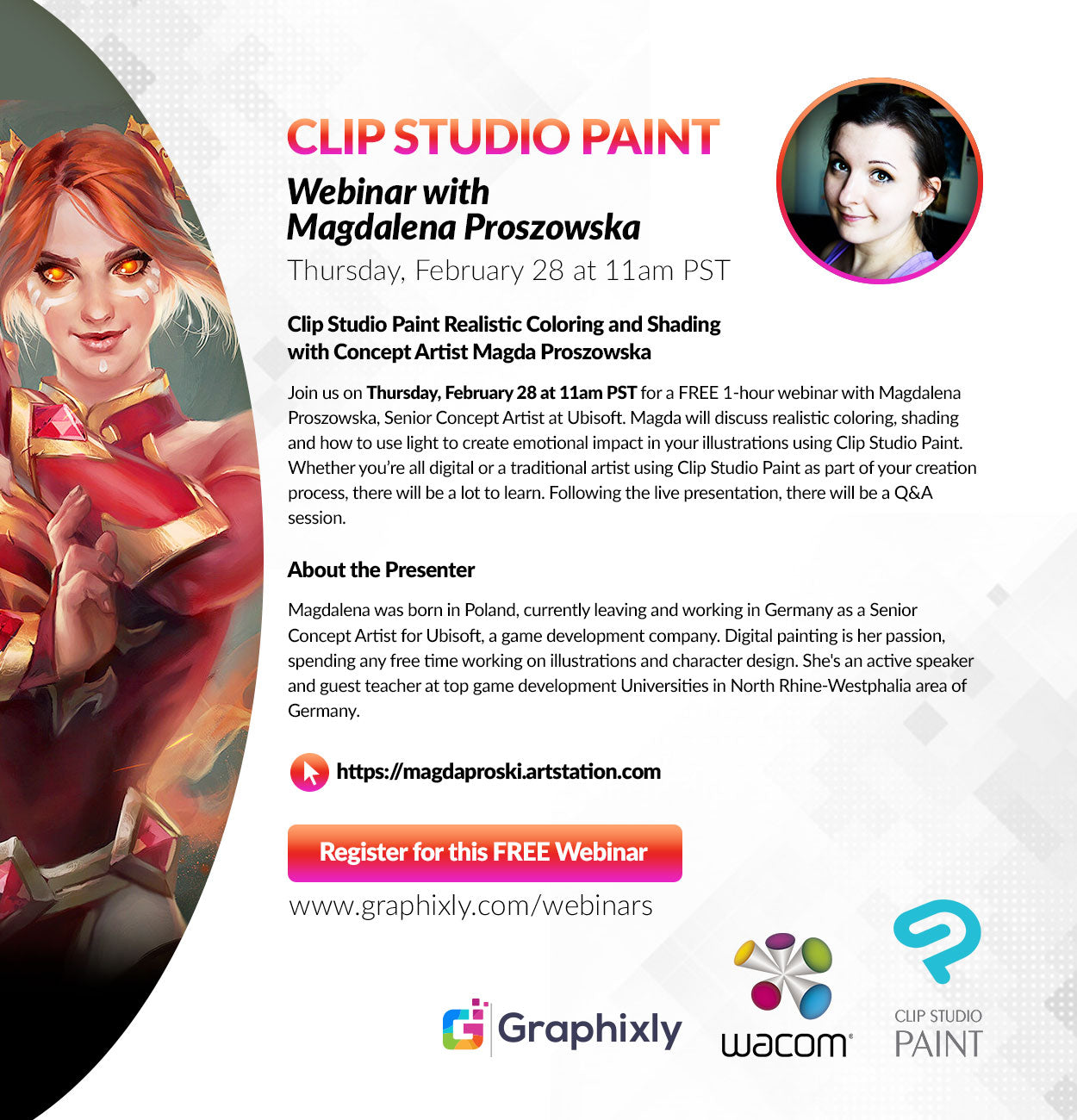Webinar - Clip Studio Paint Realistic Coloring and Shading with Concept Artist Magda Proszowska