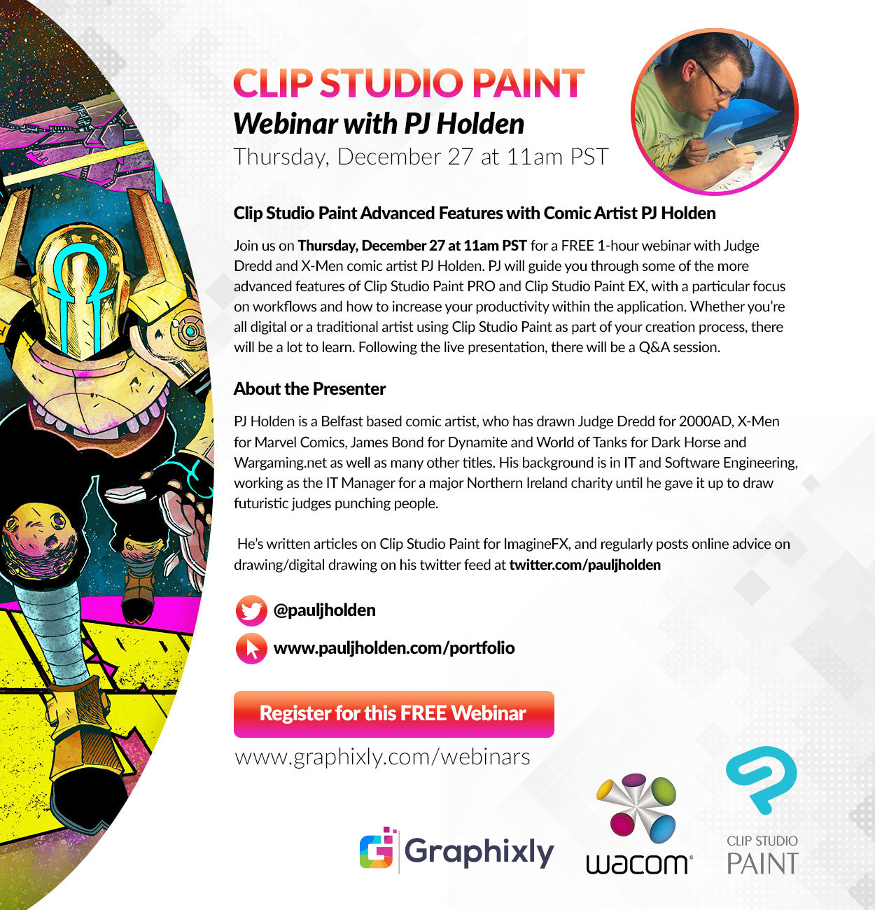 Webinar - Clip Studio Paint Advanced Features with Comic Artist PJ Holden
