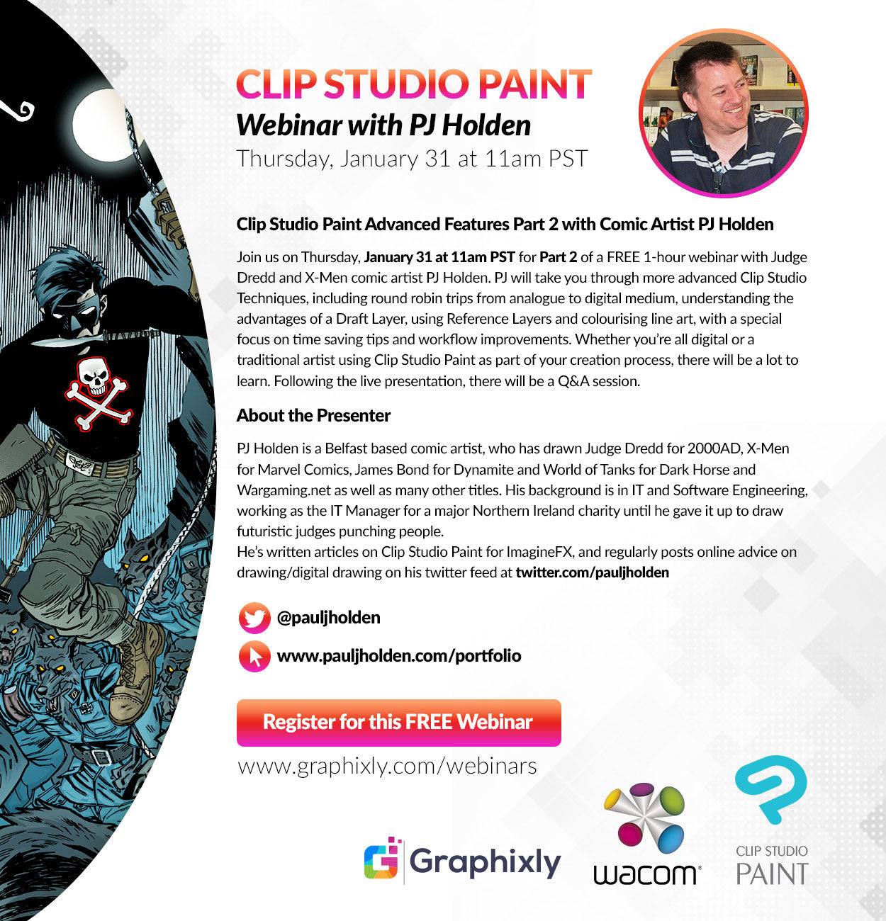 Webinar - Clip Studio Paint Advanced Features Part 2 with Comic Artist PJ Holden