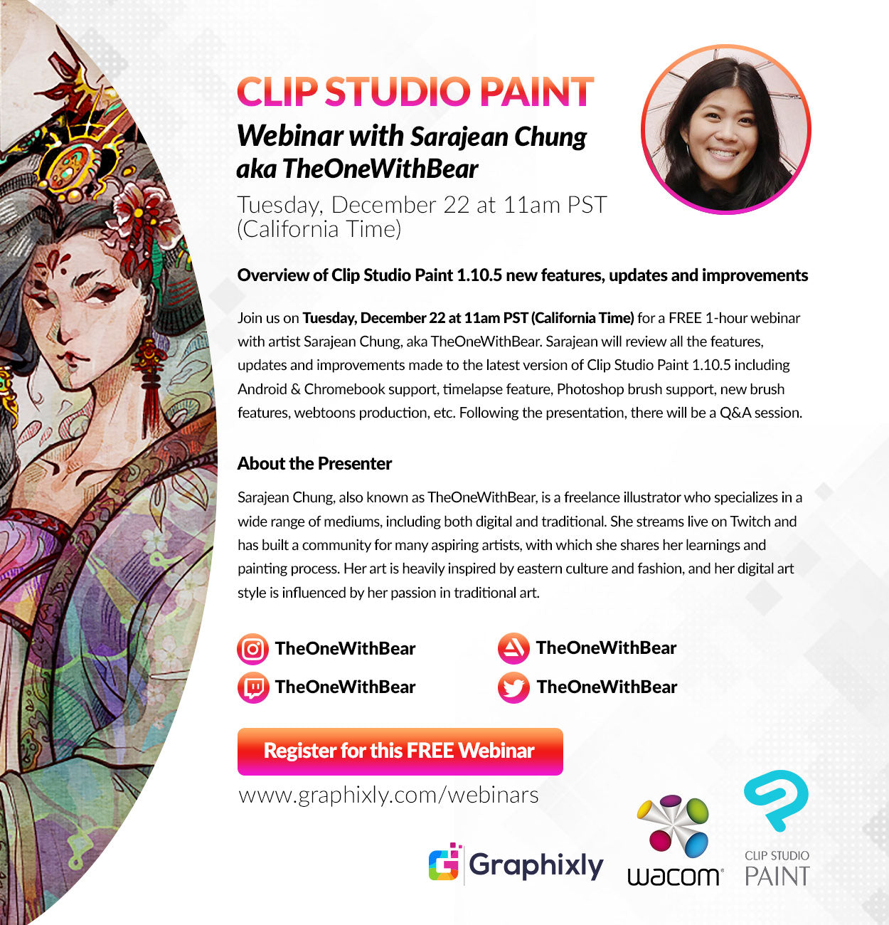 Webinar – Overview of Clip Studio Paint 1.10.5 new features, updates and improvements with Sarajean Chung