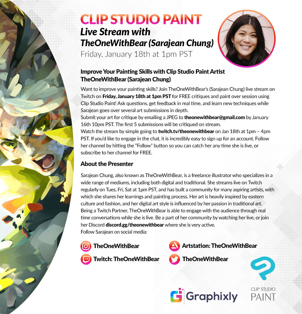 Twitch Live Stream - Improve Your Painting Skills with Clip Studio Paint Artist Sarajean Chung