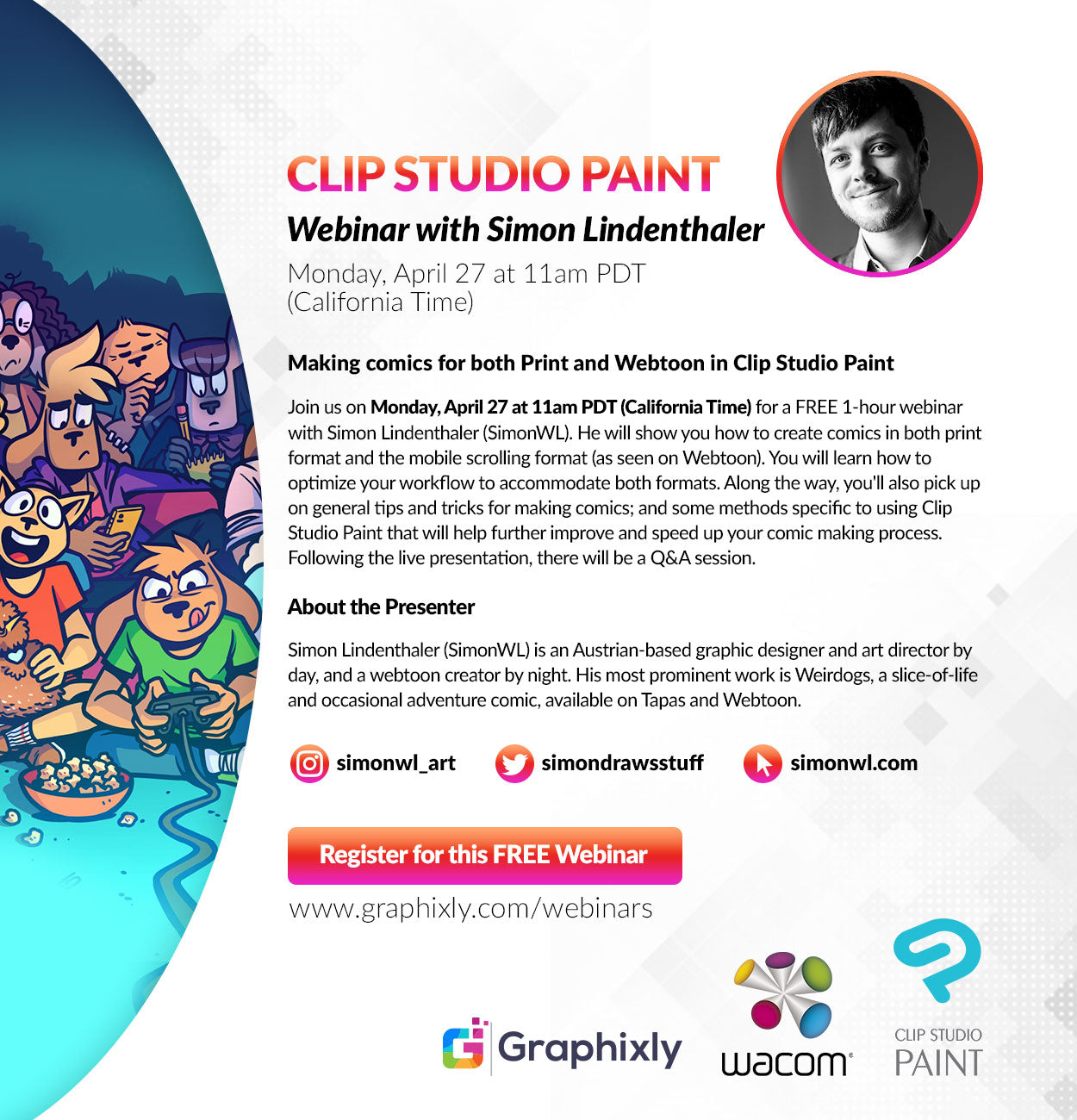 "Webinar - ""Making comics for both Print and Webtoon in Clip Studio Paint"" with Simon Lindenthaler"