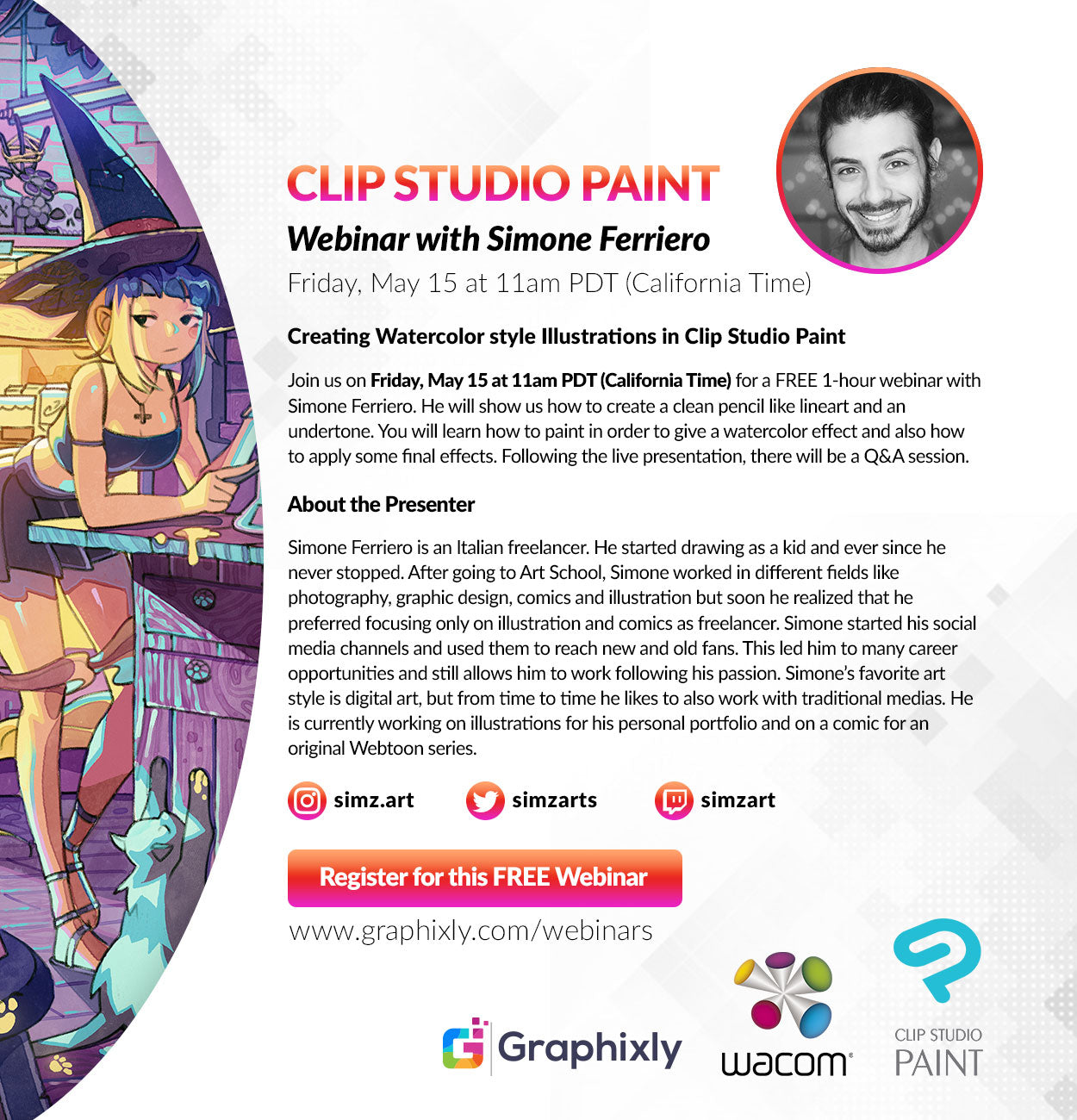 "Webinar - ""Creating Watercolor style Illustrations in Clip Studio Paint"" with Simone Ferriero"