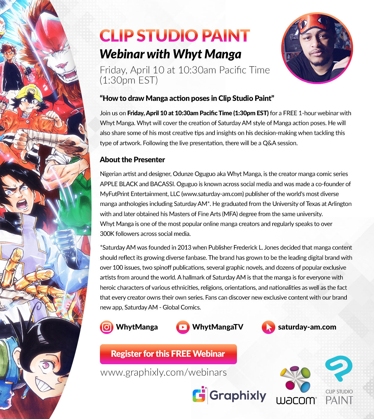 "Webinar - ""How to draw Manga action poses in Clip Studio Paint"" with Whyt Manga"