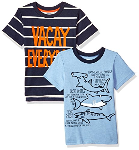 a10029034bfb Gerber Graduates Baby Boys 2 Pack Short Sleeve Top, Sharks/Vacay, 12 Months