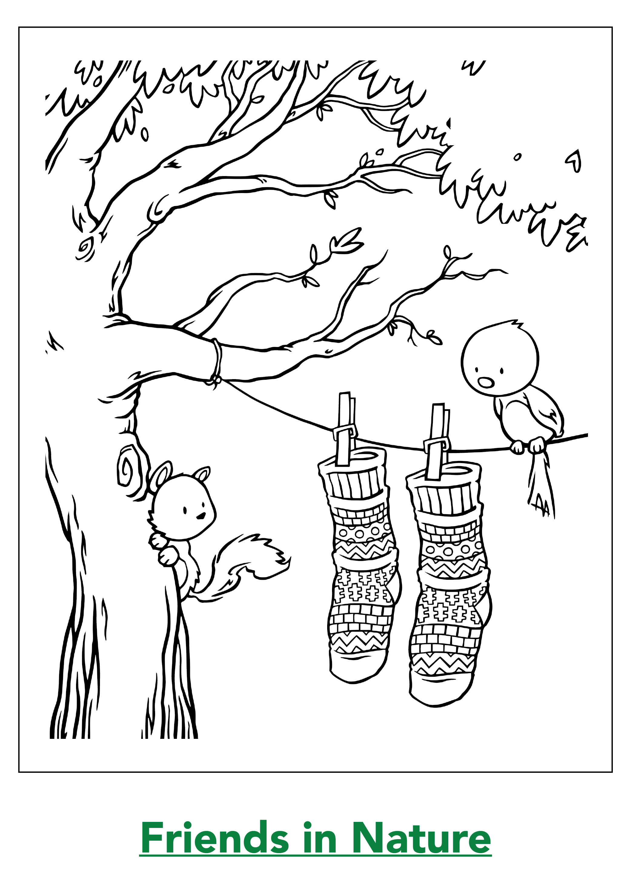 Friends in Nature Coloring Page