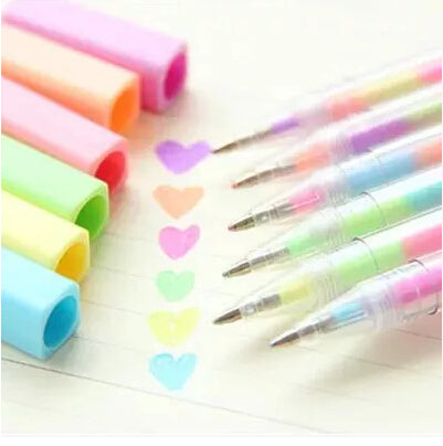 6 pcs/set Sweet Rainbow Candy Color Water Chalk Pen Highlighter Fluorescent Pen Markers Gift Stationery FOD