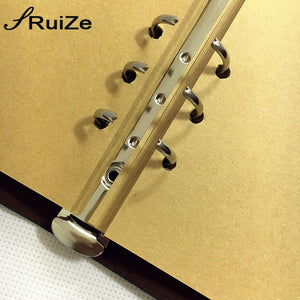 RuiZe Vintage travel journal notebook traveler notebook A5 leather kraft paper sketchbook diary blank note book 6 ring binder