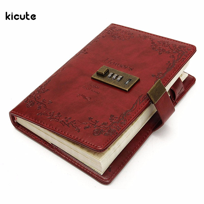B6 Retro Red Rose Leather Wired Journal Diary Blank Paper Notebook With Lock Sketchbook Notepad Gift Office School Supplies