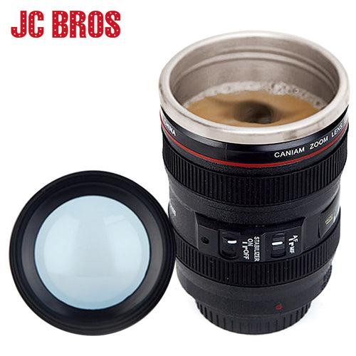 Creative Stainless Steel Camera Lens Shaped Mugs Coffee Mugs Tea Cup Travel Vacuum Flasks With Lid New Year Gifts Drinkware