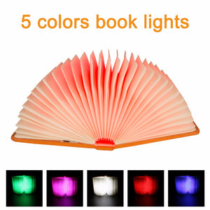 Creative Foldable Pages Folding Led Book Shape Night Light Lighting Lamp Portable Booklight Usb Rechargeable Table Book Light