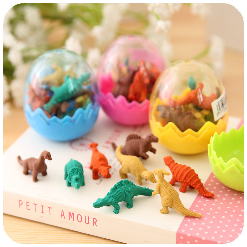 8Pcs/Set Mini Rubber Eraser Cute Dinosaur Egg Eraser Box School Stationery Office Supplies Random Color 5*4cm