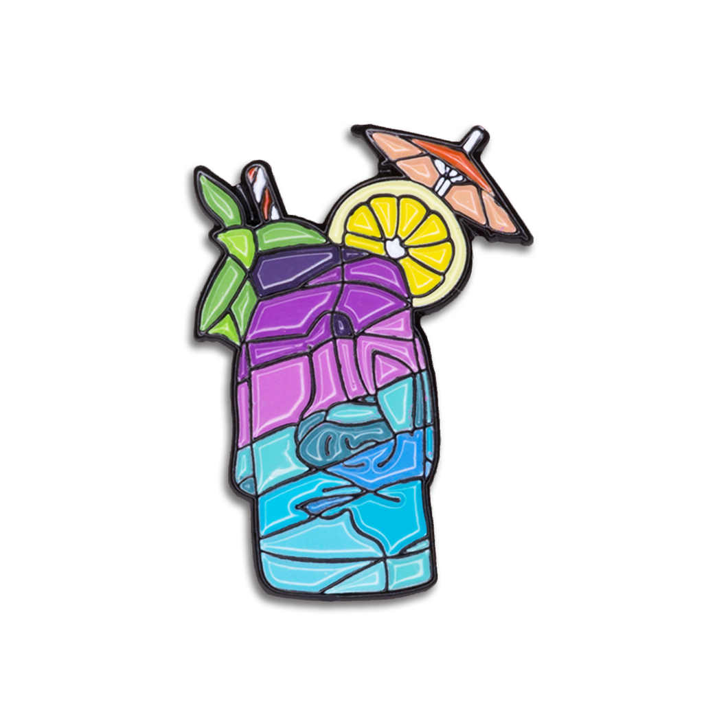 Blue Easter Island Tiki Pin
