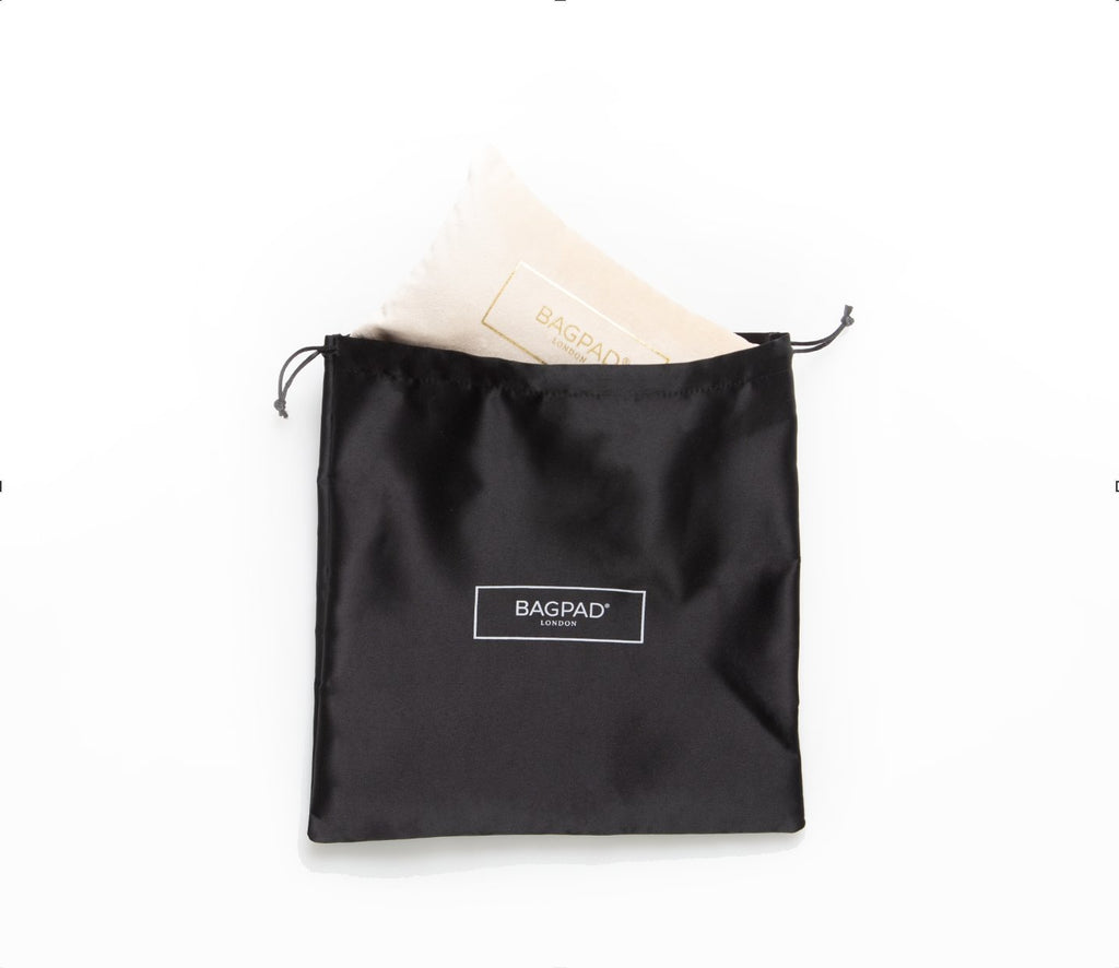 Dustbags in black with Bagpad logo print in white
