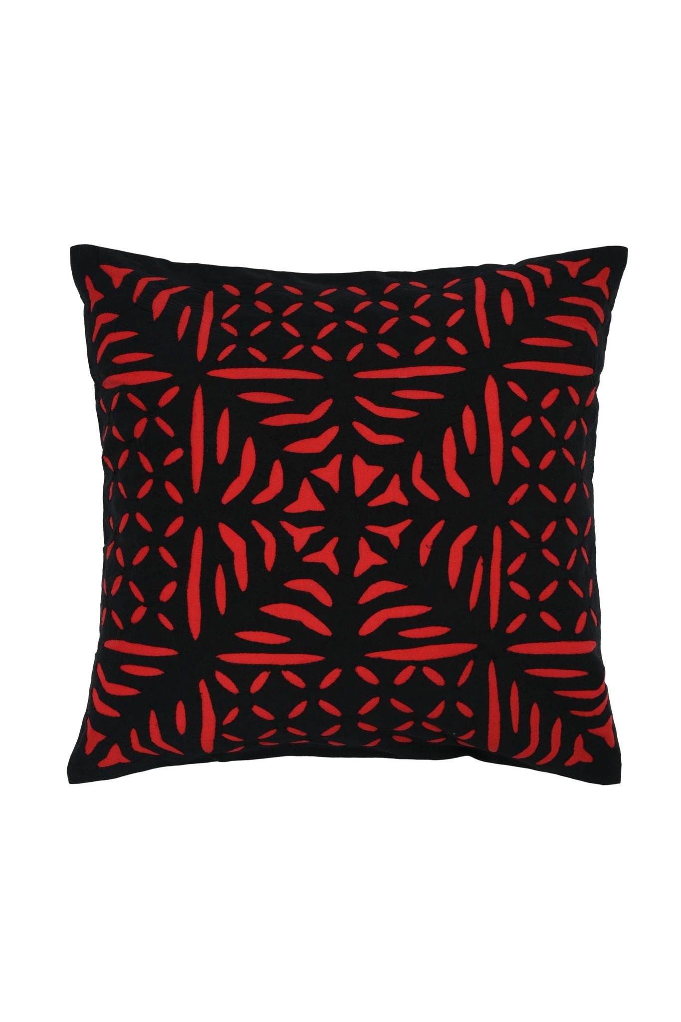 Hand Applique Black and Red Cushion Cover