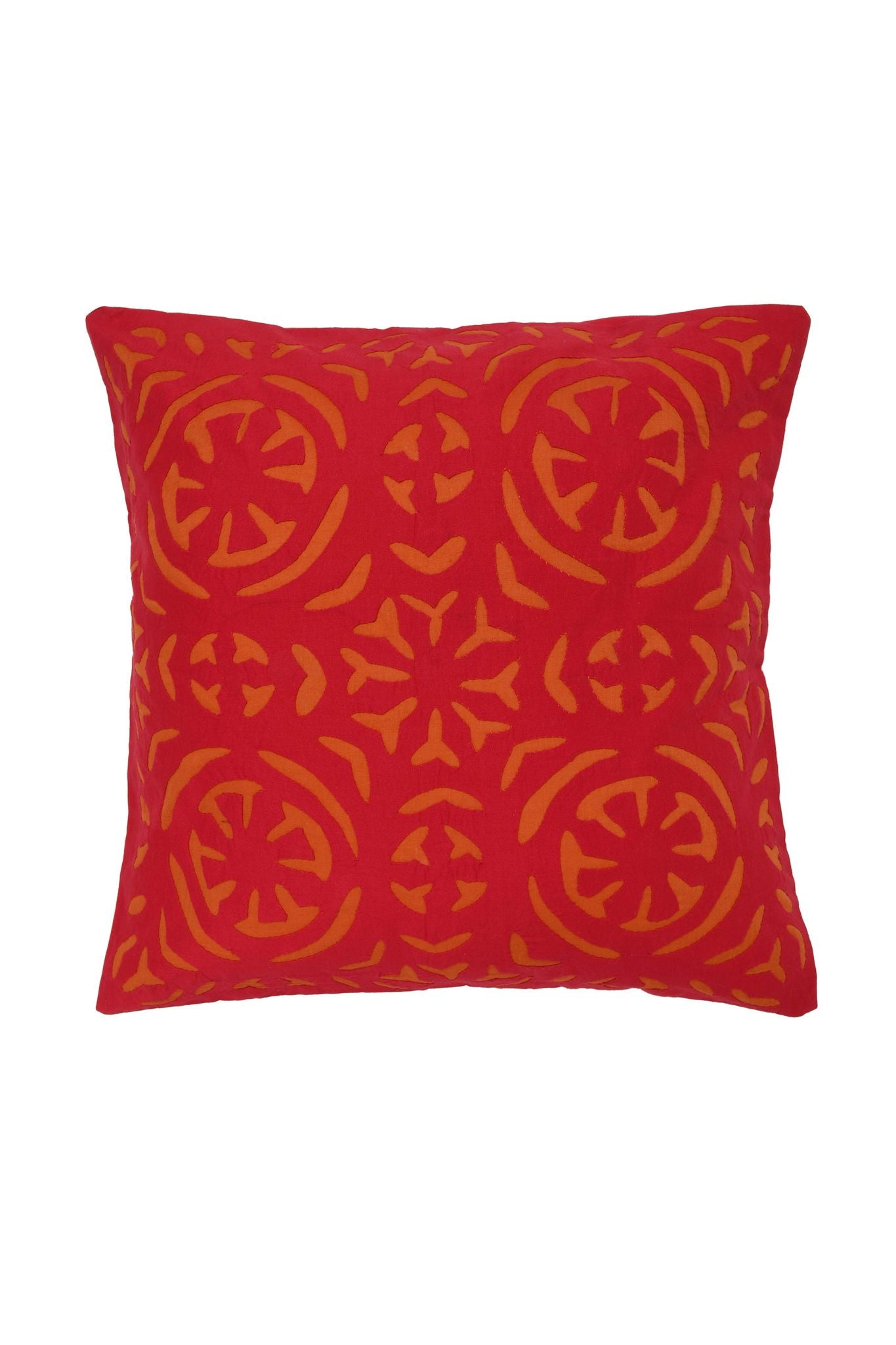 Hand Applique Red and Orance Cushion Cover