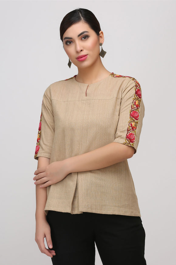 Beige Kashmiri Embroidered Woven Top