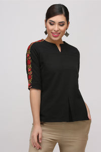 Black Kashmiri Embroidered Woven Top