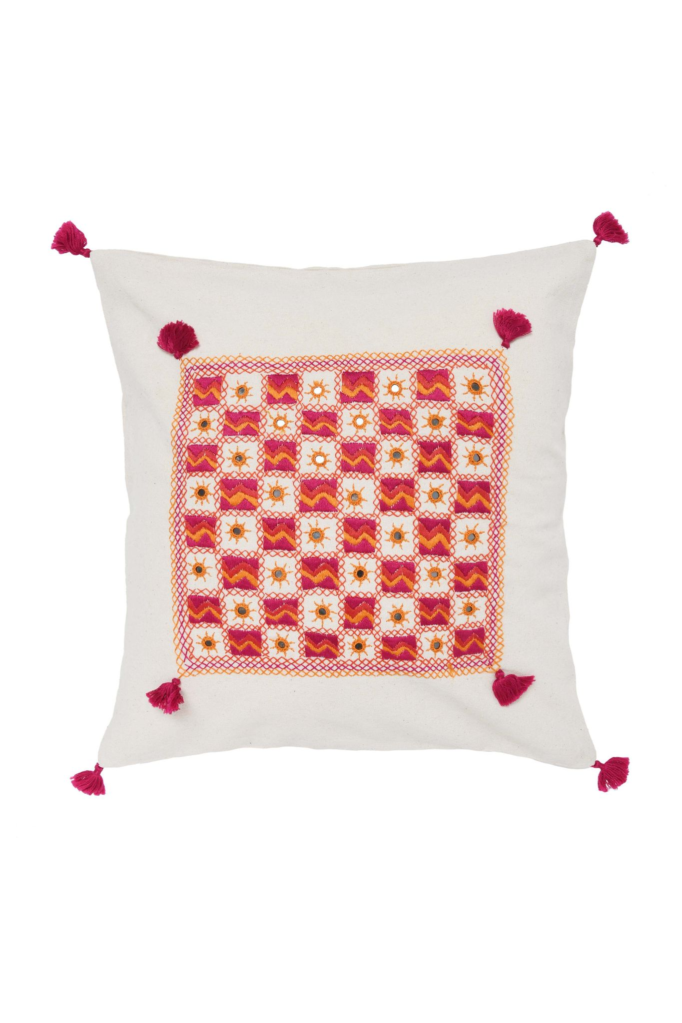 Hand Embroidery Natural Cushion Cover