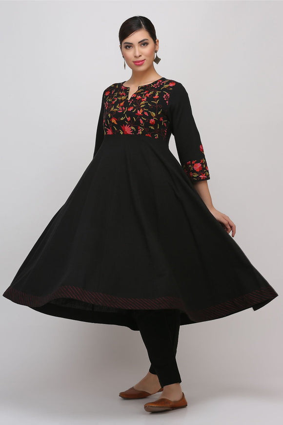 Black Kashmiri Embroidered Woven Anarkali