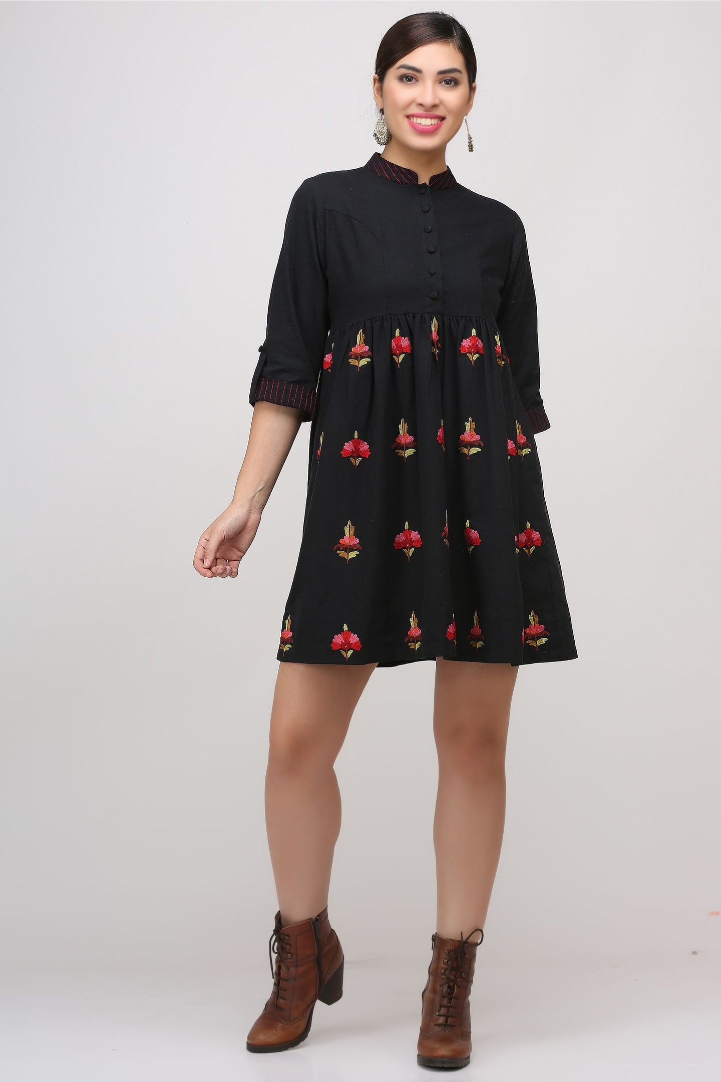 Black Kashmiri Embroidered Woven Dress