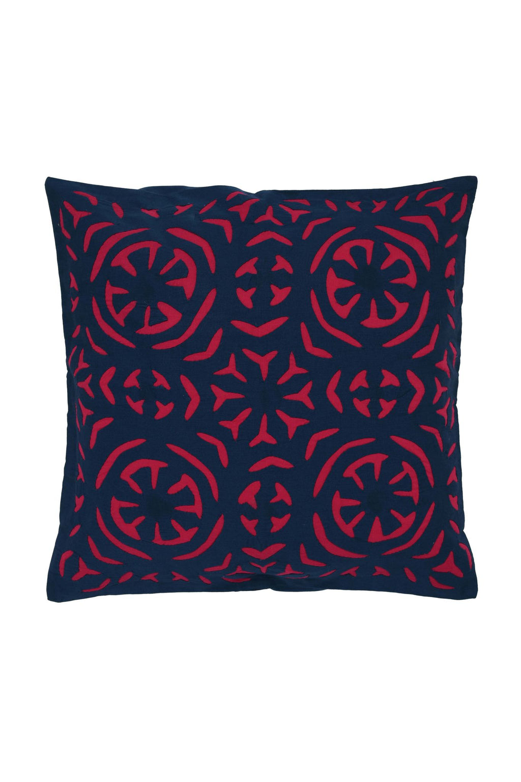Hand Applique Navy and Pink Cushion Cover