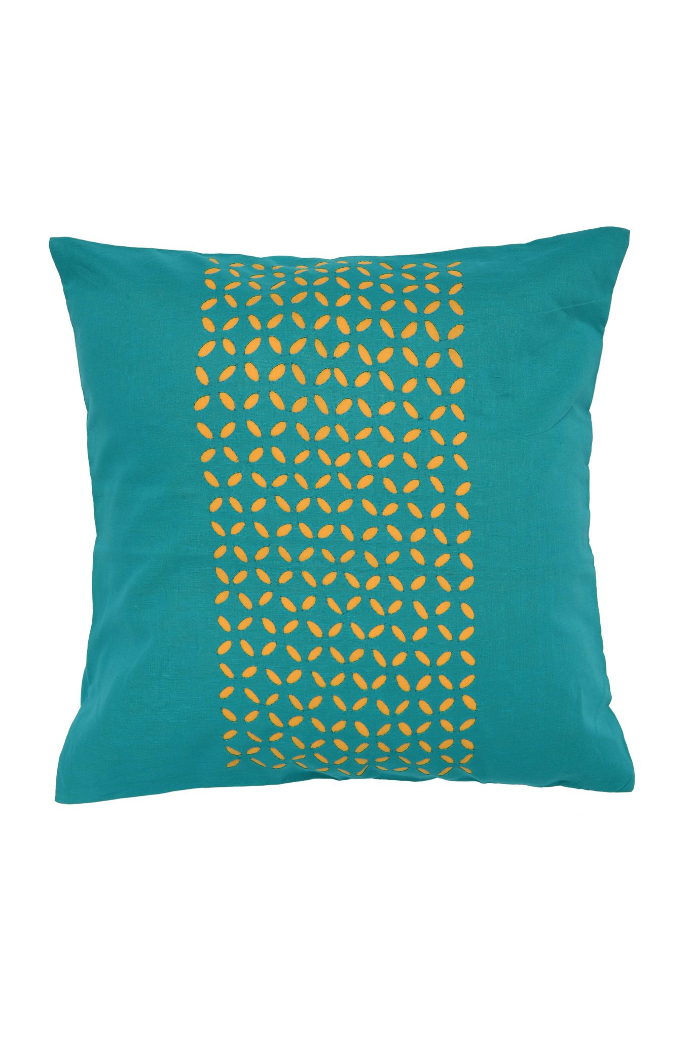 Hand Applique Turquoise Cushion Cover