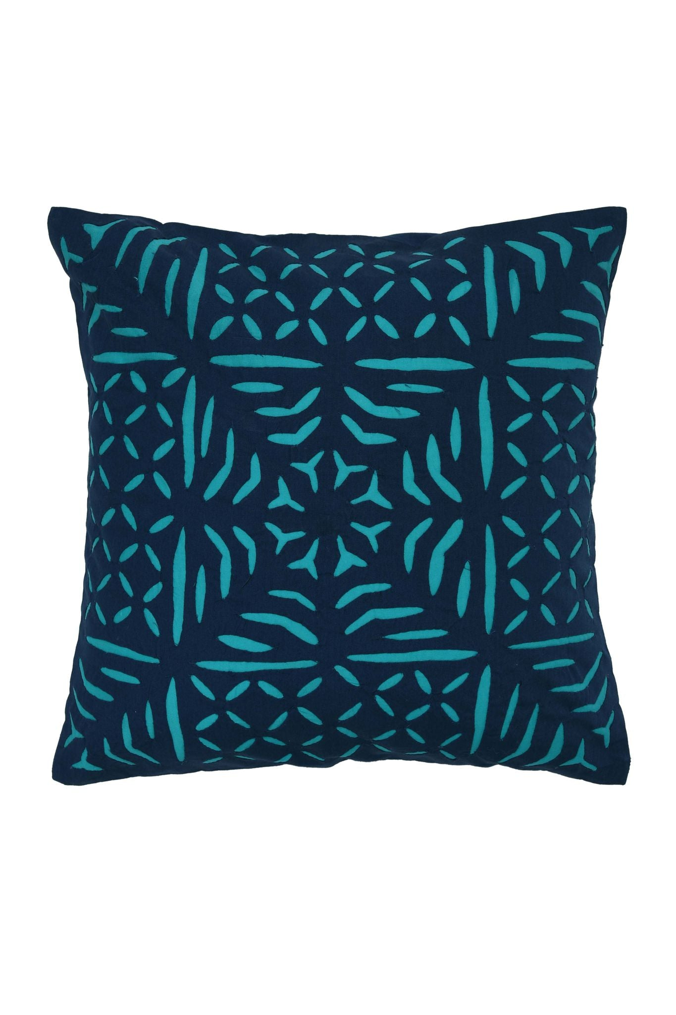 Hand Applique Navy and Turquoise Cushion Cover
