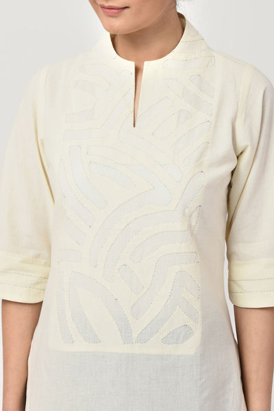 Ivory Applique Cotton Top