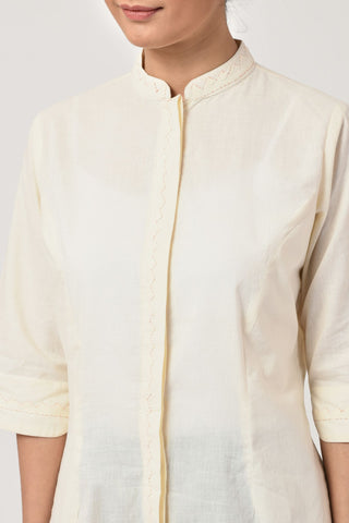 Ivory Applique Cotton Shirt