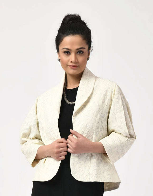 Ivory Applique Cotton Jacket