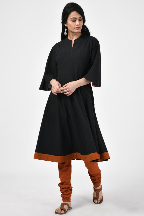 Black Hand Woven Cotton Anarkali Kurta