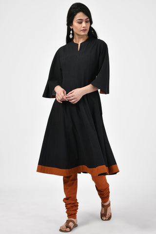 Khadi Black & Rust Kurta