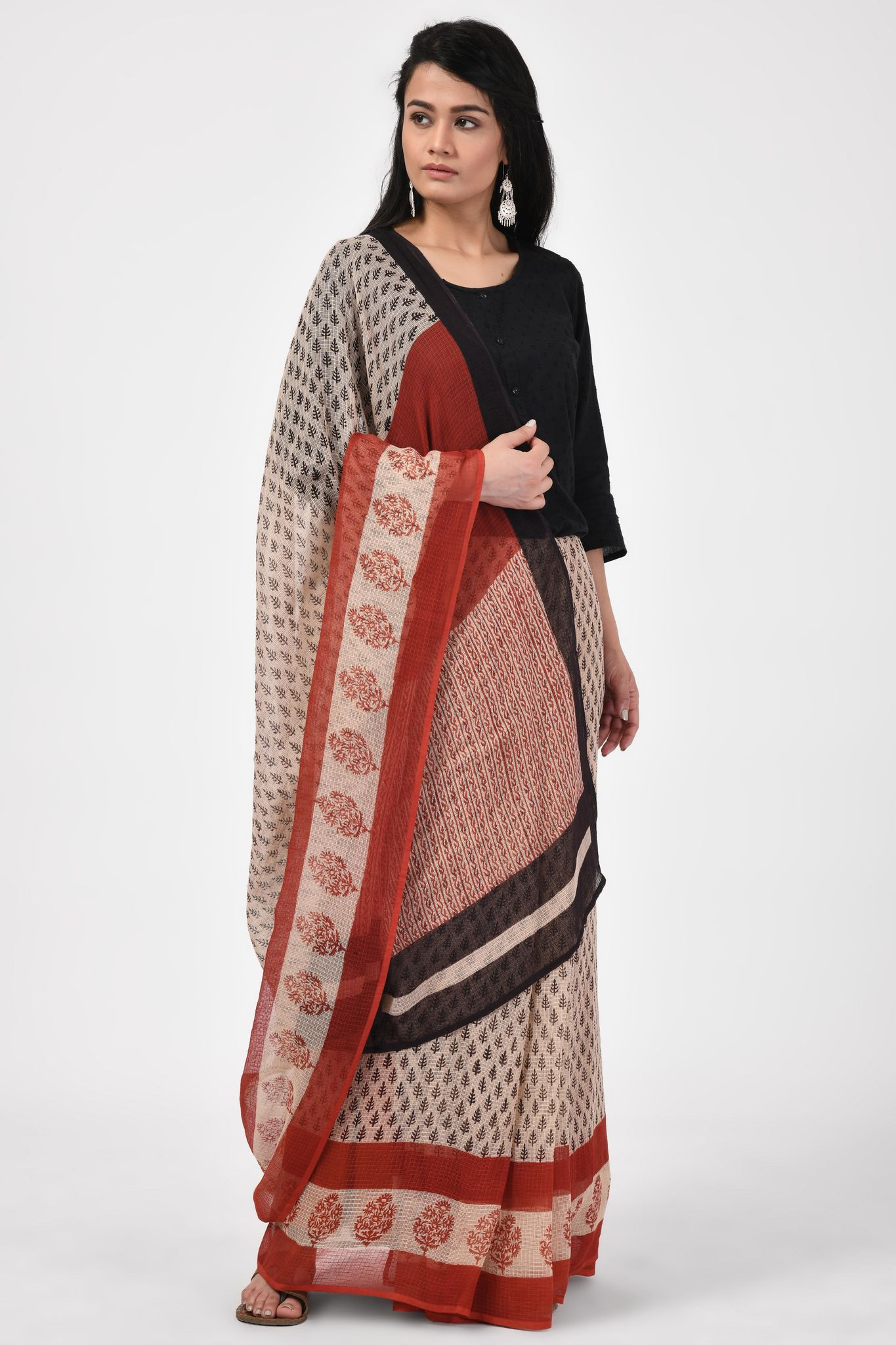 Bagru Handblock Printed Black and Red Saree