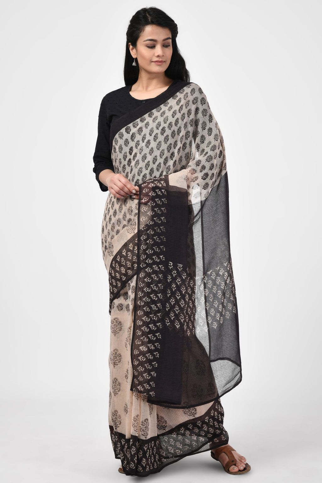 Bagru Handblock Printed Black Saree