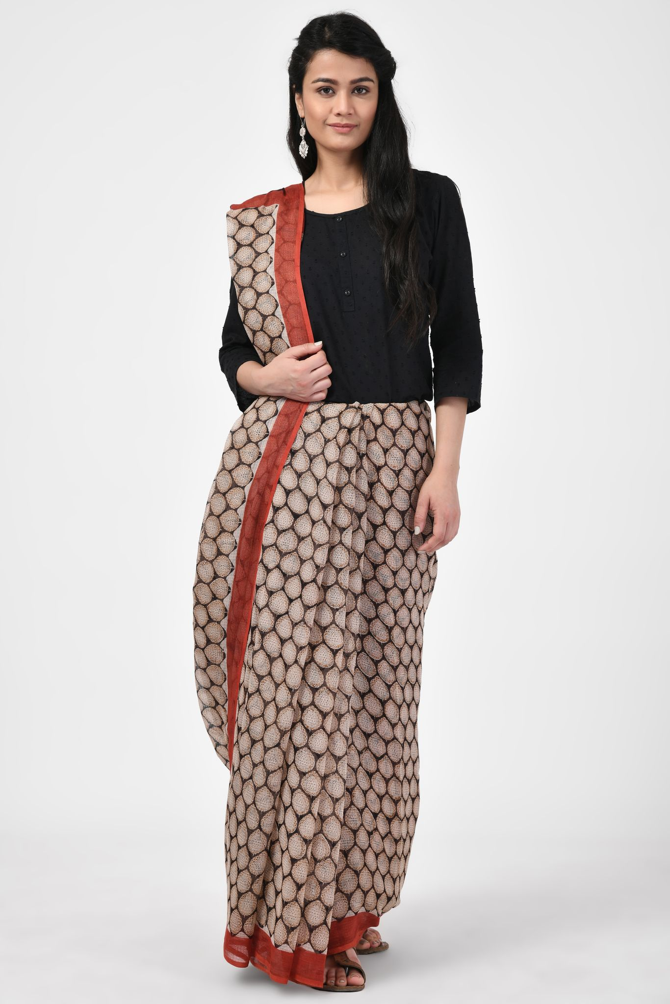 Bagru Handblock Print Black and Red Saree