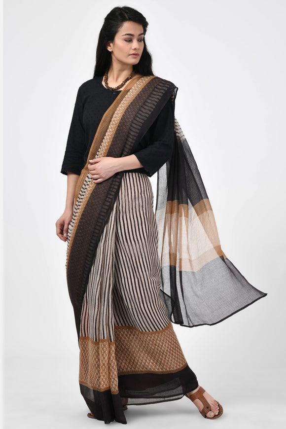 Bagru Handblock Printed Black and Beige Saree