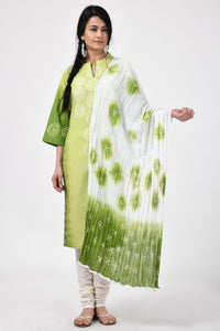 Green Bondi Bandhej Cotton Dupatta