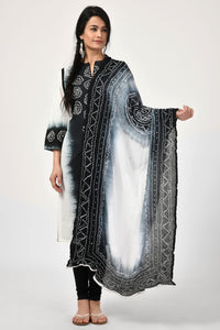 Tie-Dye Black and White Dupatta