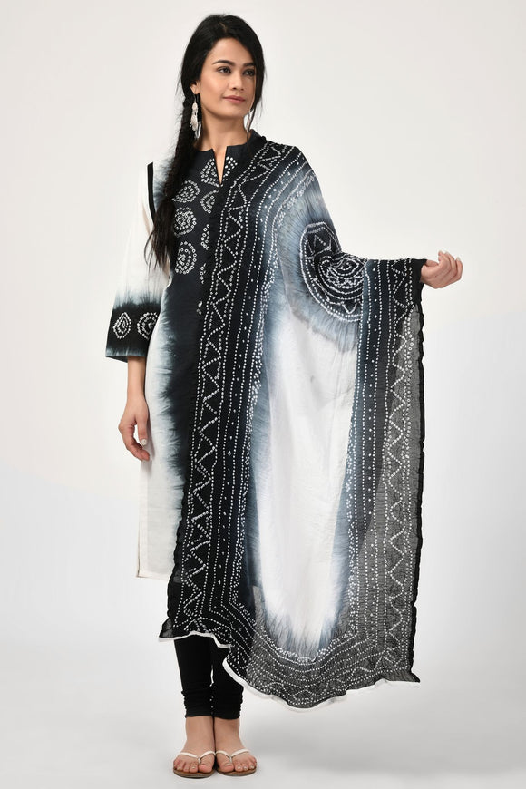 Black Bondi Bandhej Cotton Dupatta
