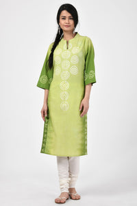 Green Bandhej Cotton Kurta