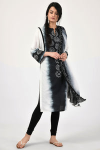 Bandhej Black and White Cotton Kurta